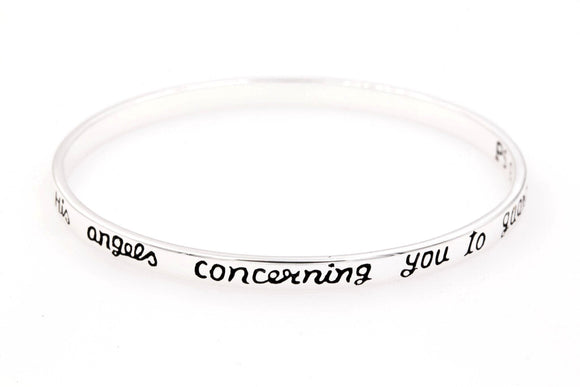 Sterling Silver Scripture Verse Bangle Bracelet | He Will Command His Angels to Guard You | Psalm 91:11