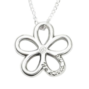 Sterling Silver Daisy Flower Necklace | He Loves Me