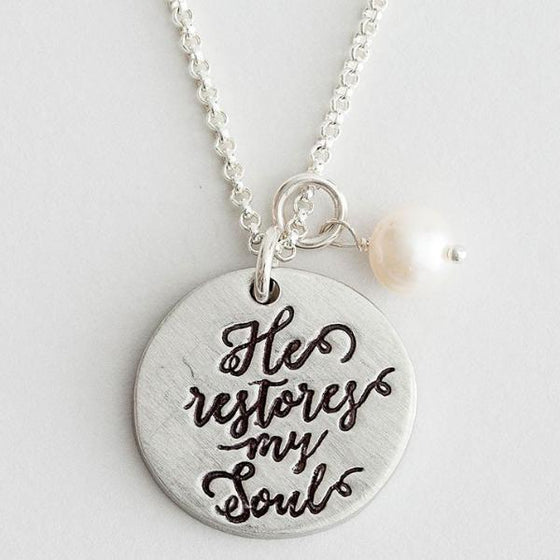 The Vintage Pearl Hand-Stamped Fine Pewter Necklace | He Restores My Soul