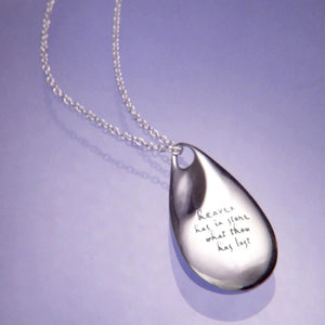 Sterling Silver Memorial Teardrop Necklace | Heaven Has in Store What Thou Has Lost