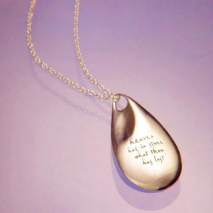 14k Gold Memorial Teardrop Necklace | Heaven Has in Store What Thou Has Lost