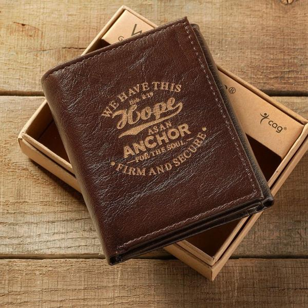 Genuine Leather Men's Tri-Fold Wallet | Hebrews 6:19 | Hope Anchor