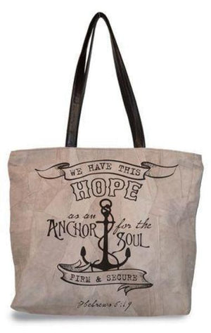 Divinity Boutique Suede Scripture Verse Tote Bag | Anchor For The Soul | Hebrews 6:19