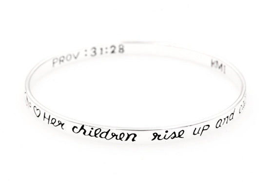 Sterling Silver Scripture Verse Bangle Bracelet | Proverbs 31:28 | Her Children Rise Up and Call Her Blessed