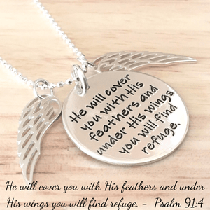 Psalm 91:4 Sterling Silver Engraved Scripture Verse Necklace | Feathers