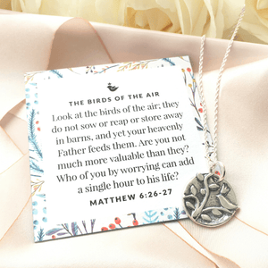 Sterling Silver Birds of the Air Pendant Necklace | Matthew 6:26