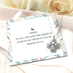 Sterling Silver Guardian Angel Cross Pendant Necklace | Psalm 91:11