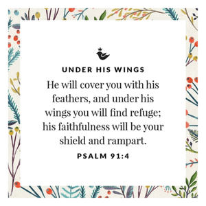 Sterling Silver Under His Wings Pendant Necklace | Psalm 91: 4