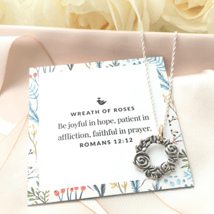 Sterling Silver Wreath of Roses Pendant Necklace | Romans 12:12