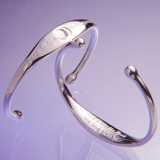 Sterling Silver Child's Cuff Bracelet | I See the Moon, the Moon Sees Me | God Bless the Moon, God Bless Me