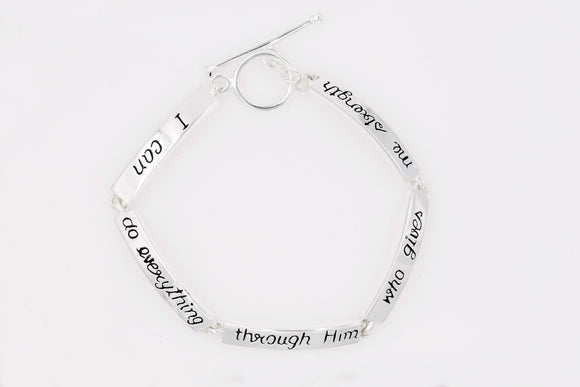 Philippians 4:13 | Sterling Silver Scripture Verse Link Bracelet | I Can Do Everything Through Him Who Gives Me Strength