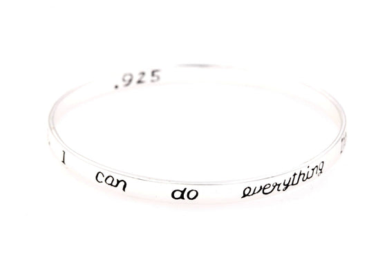 Sterling Silver Scripture Verse Bangle Bracelet | Philippians 4:13 | I Can Do Everything Through Him Who Gives Me Strength