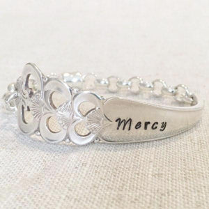 Mercy hand-stamped spoon bracelet