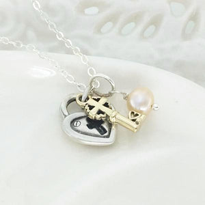 Sterling Silver and 14k Gold Heart & Cross Lock & Key Necklace