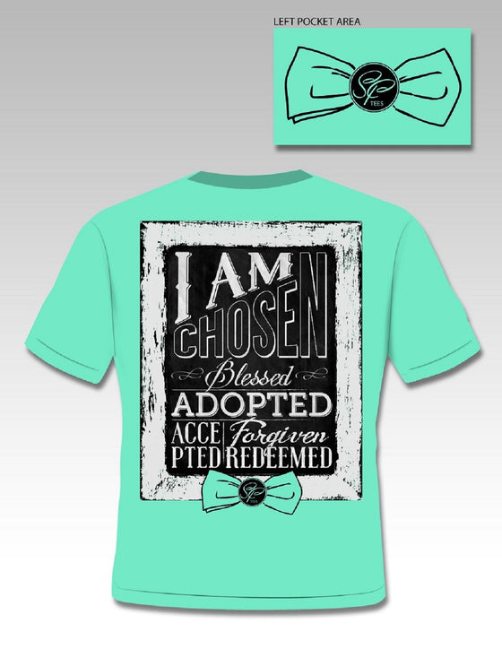 SassyFrass Christian T-Shirt | I Am Chosen, Blessed, Adopted, Accepted, Forgiven, Redeemed | Free U.S. Shipping