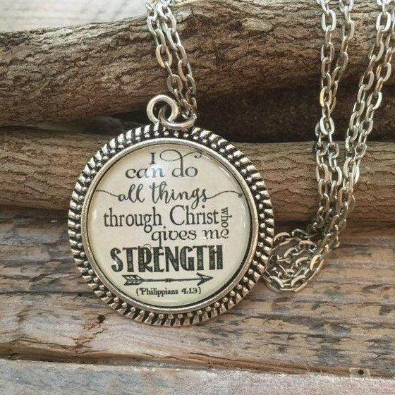 I Can Do All Things Through Christ Scripture Verse Necklace | Philippians 4:13 | Never Lose Hope