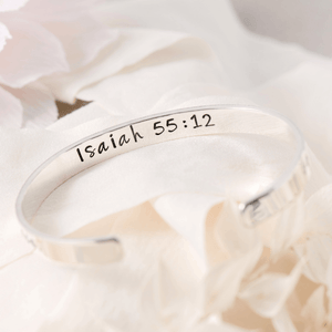 Isaiah 55:12 Sterling Silver Engraved Scripture Verse Cuff Bracelet | Go Out With Joy