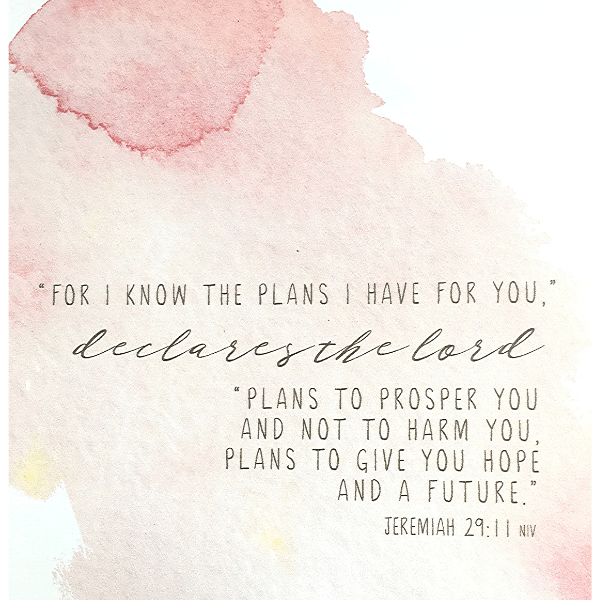 For I Know the Plans I Have For You Bible Verse Watercolor Art Print | Jeremiah 29:11