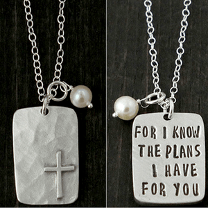The Vintage Pearl Double Sided Scripture Verse Necklace | For I Know The Plans I Have For You | Jeremiah 29:11