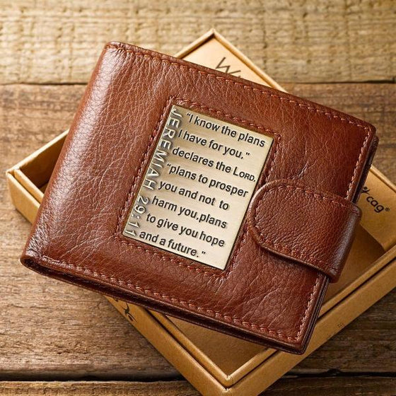 Brown Genuine Leather Wallet with Brass Scripture Verse Inlay - Jeremiah 29:11