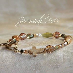Swarovski Crystal Gemstone Cross Scripture Verse Bracelet | For I Know the Plans I Have for You - Jeremiah 29:11