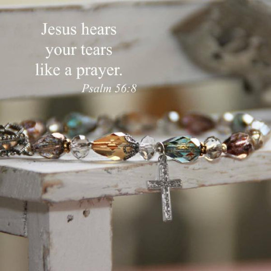 Swarovski Crystal Scripture Verse Bracelet | Jesus Hears Your Tears Like a Prayer | Psalm 56:8