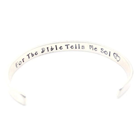 "Jesus Loves Me | Sterling Silver Cuff Bracelet | 5"" Youth Size"