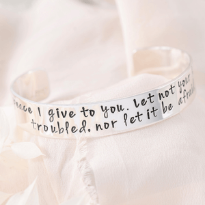 "Let Not Your Heart Be Troubled Sterling Silver Engraved Scripture Verse Cuff Bracelet | 1/2"" width"