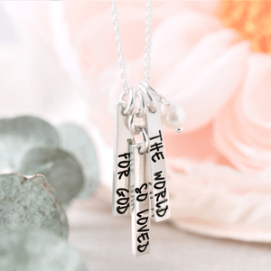 Sterling Silver John 3:16 Vertical Bar Necklace | For God So Loved the World