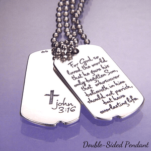 Sterling Silver John 3:16 Dog Tag Necklace | For God So Loved the World | Laurel Elliott