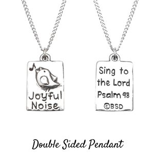 Sterling Silver Scripture Verse Necklace | Joyful Noise | Psalm 98