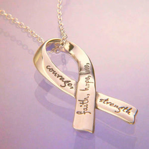 14k Gold Inspirational Affirmation Ribbon Necklace - Clothed with Truth