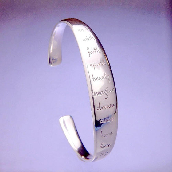 Sterling Silver Inspirational Cuff Bracelet | Soul Wish Faith Spirit Beauty Imagine Dream Peace Hope Love Joy