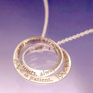 14k Gold Double Mobius Scripture Necklace 1 Corinthians 13 Love is Patient...- Clothed with Truth