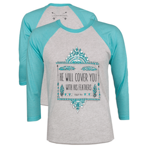 Southern Couture Christian T-Shirt | Feathers | Psalm 91:4 | Raglan 3/4 Sleeve