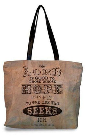 Suede Scripture Verse Tote Bag | The Lord Is Good | Lamentations 3:25
