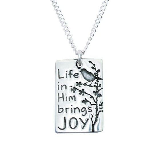 Sterling Silver Christian Necklace | Life in Him Brings Joy