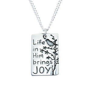 Sterling Silver Life in Him Brings Joy Necklace | Spring Sparrow