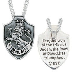 Sterling Silver Lion of Judah Shield Pendant Necklace
