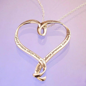 14k Gold Scripture Verse Heart Necklace | Love is Patient | 1 Corinthians 13