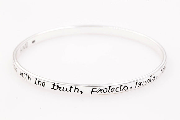 Sterling Silver Scripture Verse Bangle Bracelet | 1 Corinthians 13:4,6-8 | Love is Patient