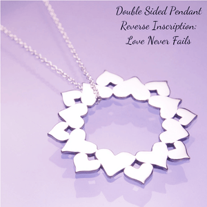 Love Never Fails Sterling Silver Heart Wreath Necklace | 1 Corinthians 13:8
