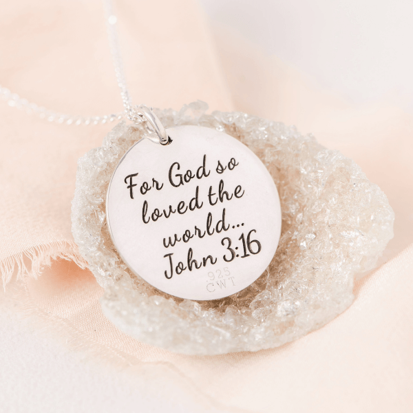 Sterling Silver Love Crown Pendant Necklace | John 3:16