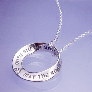 Sterling Silver Mobius Prayer Necklace | Irish Blessing | May the Road Rise to Meet You