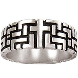Sterling Silver Men's Cross Labyrinth Ring