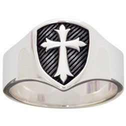 Sterling Silver Men's Signet Shield Cross Ring