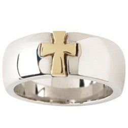 Sterling Silver and 14kt Gold Men's Cross Ring
