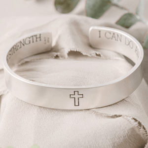 Men's Sterling Silver Engraved Heavy Cuff Bracelet | All Things Through Christ | Philippians 4:13