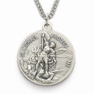 Sterling Silver St. Michael Marines Medallion | US Military Seal Necklace