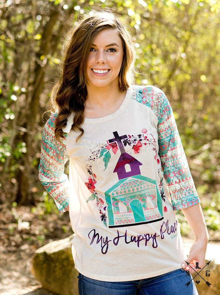 My Happy Place 3/4 Sleeve Christian Tee | Southern Grace